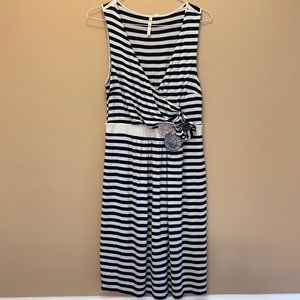 Anthropologie Perilla Navy Stripe Dress Size Large